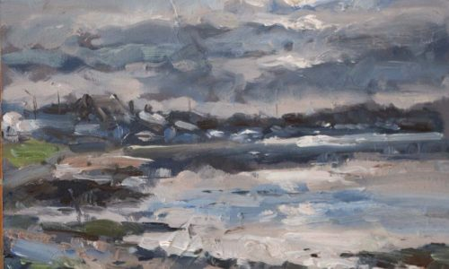 Baldoyle Estuary (Moonlight) 10x12inches _650