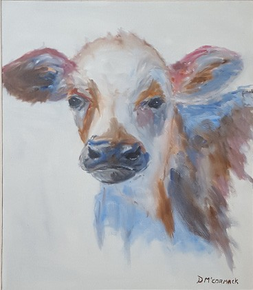 Stuart- Impressionist Oil Painting Of Charolais Calf