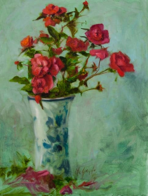 "Rose study Oil on Canvas 12""x16"" €1200"