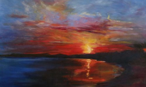 Original oil painting of sunset over Galway Bay by Irish artist David McCormack