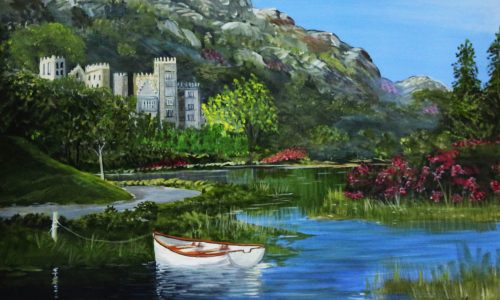 Kylmore Abbey County Galway-Landscape Painting-