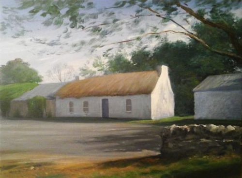 Crossbowmen Painting of traditional Irish cottage