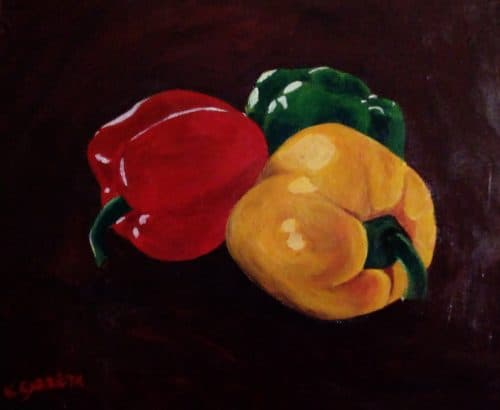 Acrylic Painting Still Life of Peppers