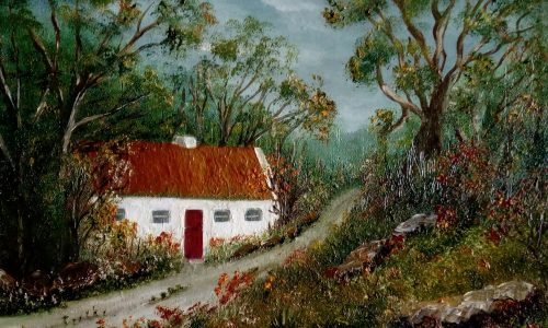 Painting of Irish cottage in the countryside