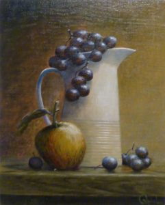 STILL LIFE JUG OF GRAPES