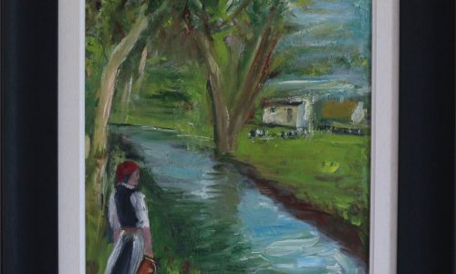 Looking by the River- Landscape Oil Painting