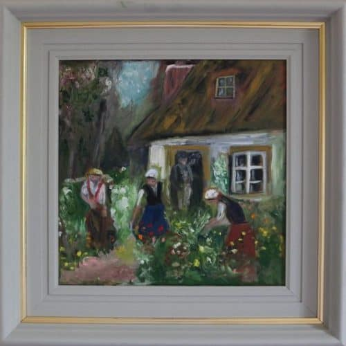 Gardening Time- Traditional Irish Cottage Painting