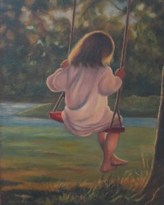 Painting of a girl on a swing