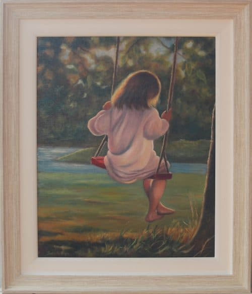 Girl On A Swing- Figurative Original Painting