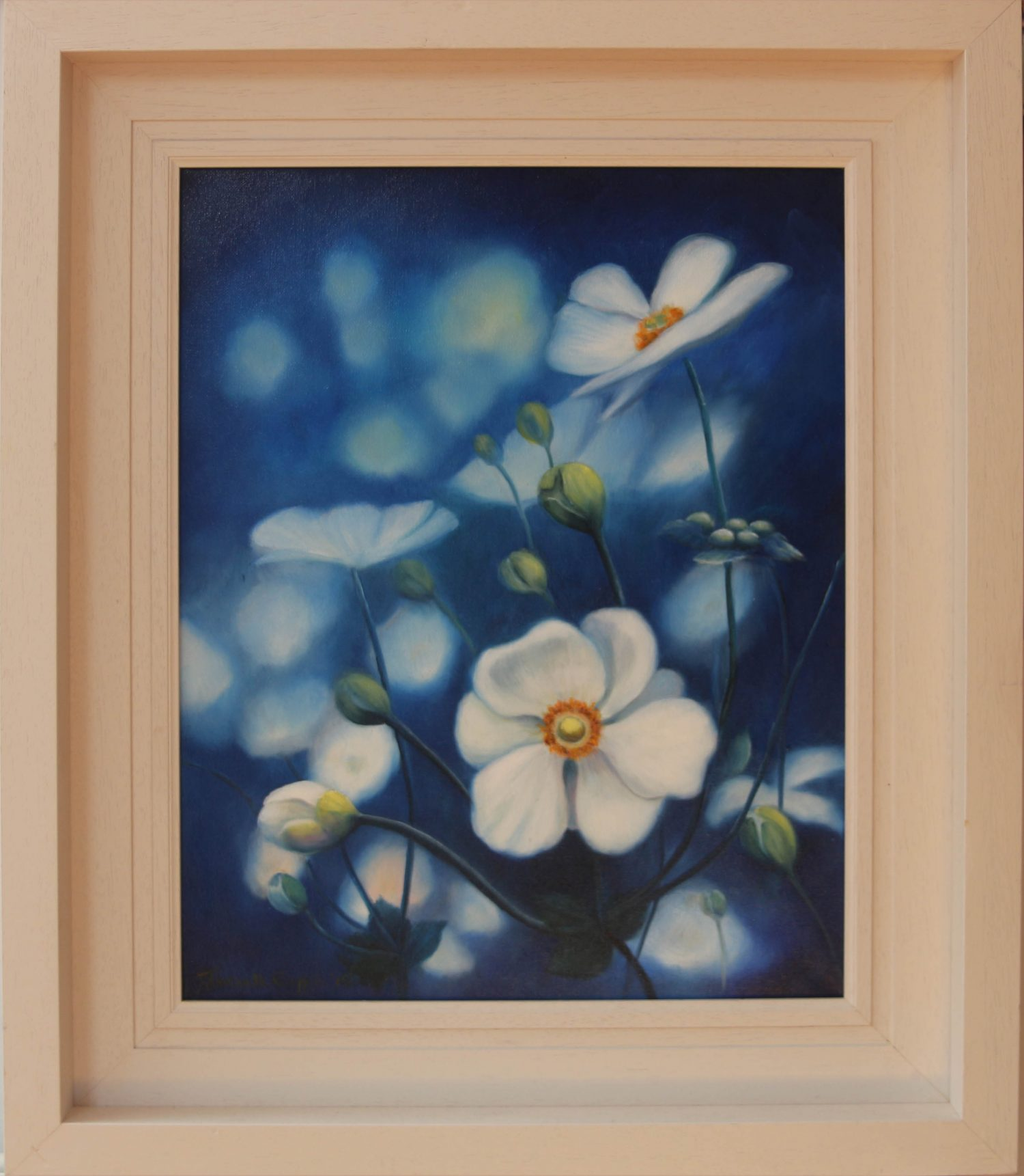 Japanese Anemones Floral Oil painting for sale