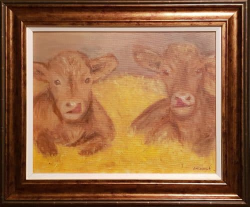 Painting of Charolais Calves