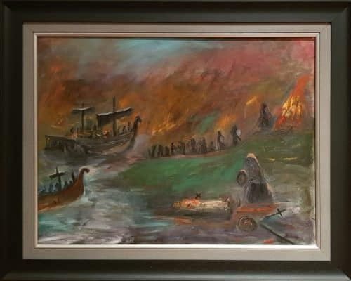 Painting of Vikings Landing for Battle on the Boyne (series of 3)