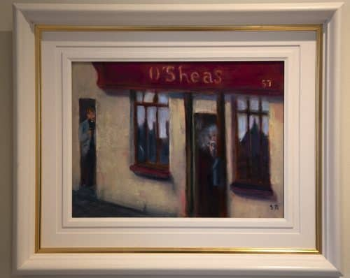 Redemption is at hand Traditional Irish painting of an village pub street scene by Irish artist Sean Mcguire