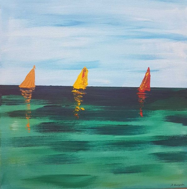 SAILING BOATS Abstract Seascape Painting