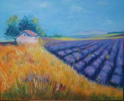 Provence The original landscape painting depicts one of the beautiful and breathing landscapes in France- lavender fields of Province region.