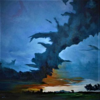 Ireland Landscape Painting of Ireland with a dramatic sky by Irish artist Conor Murphy
