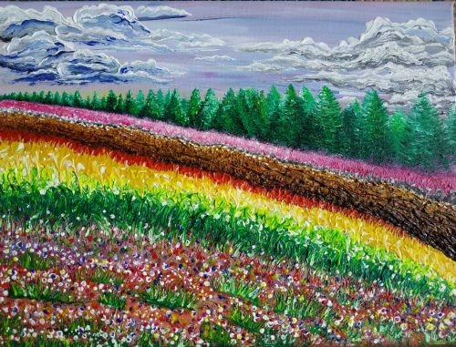 The meadow Rainbow of flowers landscape painting filled with colour and light by artist Justyna Szerszen