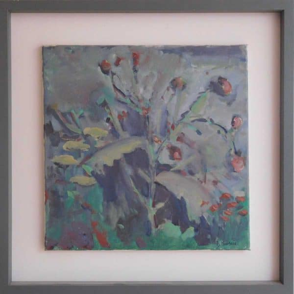 Thistle Flower Still life Impressionist Floral painting for sale