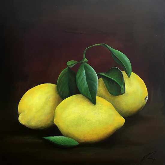 Still life Painting of Lemons by Irish artist James Rooney.
