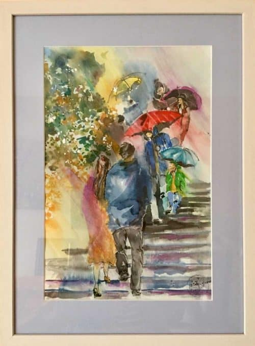 City Life II Watercolor Street Scene Painting
