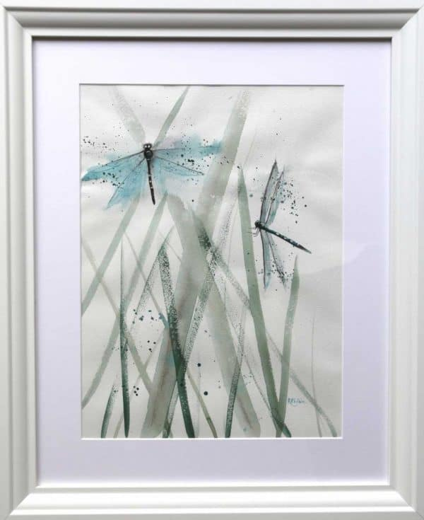 Dragonfly Couple Watercolour painting