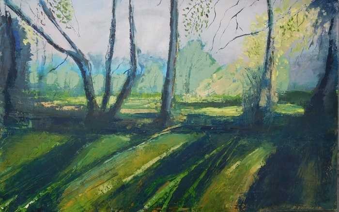 Evening Sun Landscape painting of trees in the evening sun by Irish artist