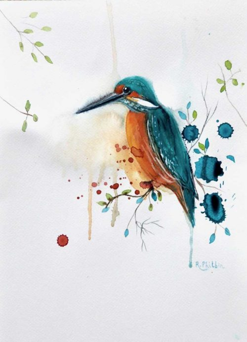 Happy Kingfisher, original contemporary art watercolour painting, watercolor, birthday, engagement, wedding, retirement gift,