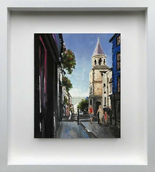 Main Street, Wexford Street scene painting Irish artist Ben Linehan. Art for sale Ireland's online art gallery art4you.ie