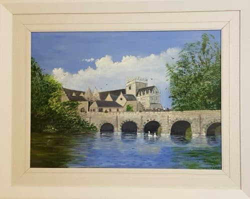 Landscape painting of Holy Cross Abbey in County Tipperary