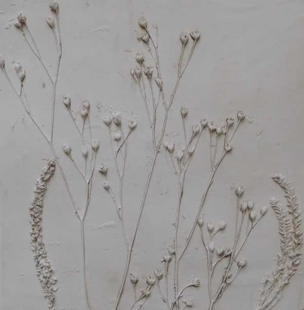 Still life floral art moulded with plaster of paris