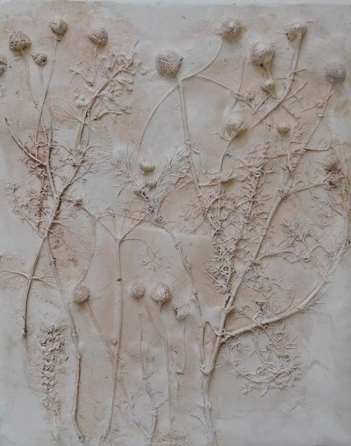 Plaster number 2 Still life floral art moulded with plaster of paris