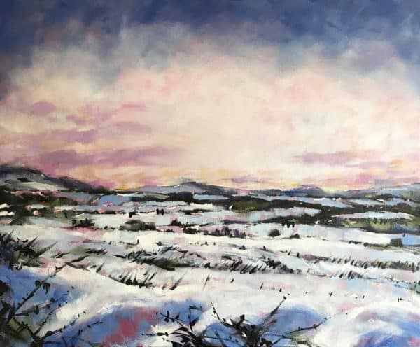 Snowfields Irish landscape painting of a field covered in snow with a dramatic sky