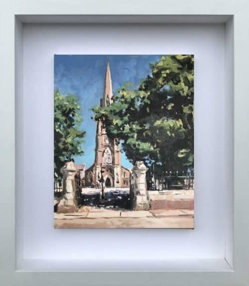 Sunday Morning Oil Painting of a Church by Irish artist Ben Linehan