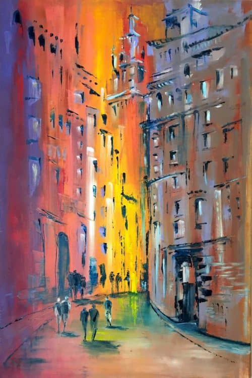 Walking Down The Street Contemporary Abstract Street Scene Painting