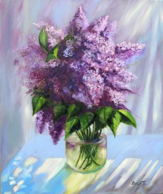 Through the curtains Still life painting of lilac flower in a vase