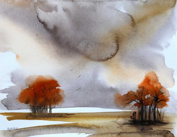 'A Couple Sheltering Under a Tree' Landscape watercolour painting By artist Rine Philbin