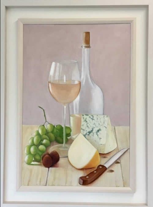 Blue Cheese and Wine  Still life painting by Irish artist Valerie Dennigan