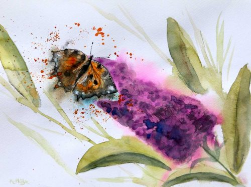 'Butterfly on Lilac' Floral Watercolour Painting by artist Rine Philbin