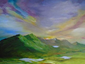 Landscape painting Connor Pass painted in Ireland by an Irish artist with Set in the stunning mountains of the Dingle peninsula the Conor Pass
