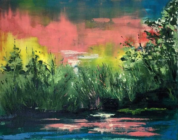 Early Morning Lake Abstract Landscape/Seascape painting filled with light and colour. Browse our large selection of paintings for sale by Irish artists