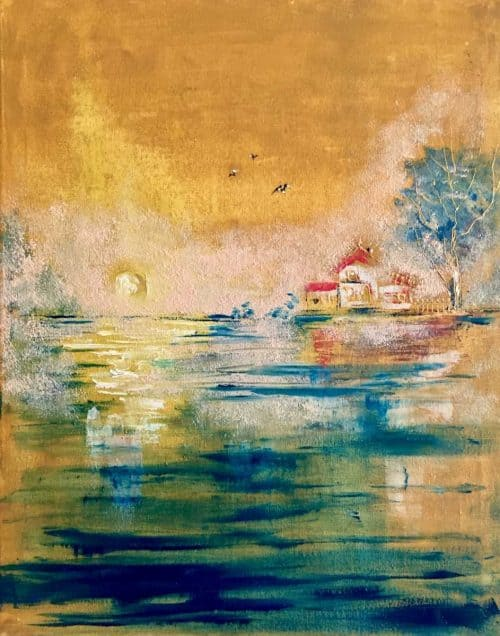 Golden August Abstract Seascape painting by Artist Jelena Straizene. Browse our large selection of art for sale Ireland and the UK art4you.ie
