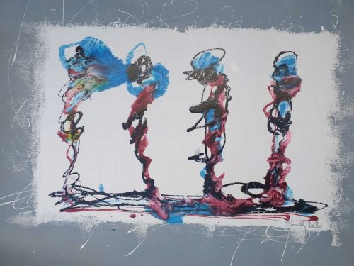 Amigos Contemporary Abstract painting by artist Kevin Sharkey
