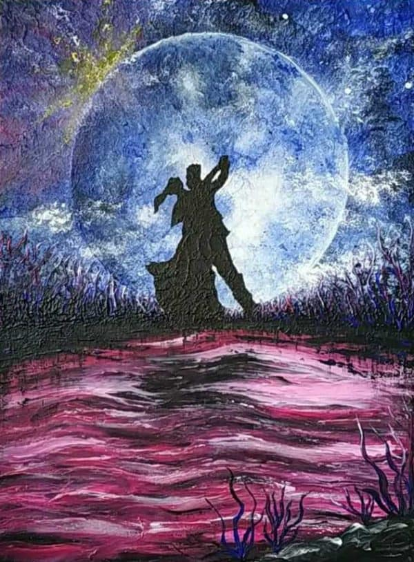 Dance in the Light of the Moon Imaginative Figurative Painting by artist Justyna Szerszen