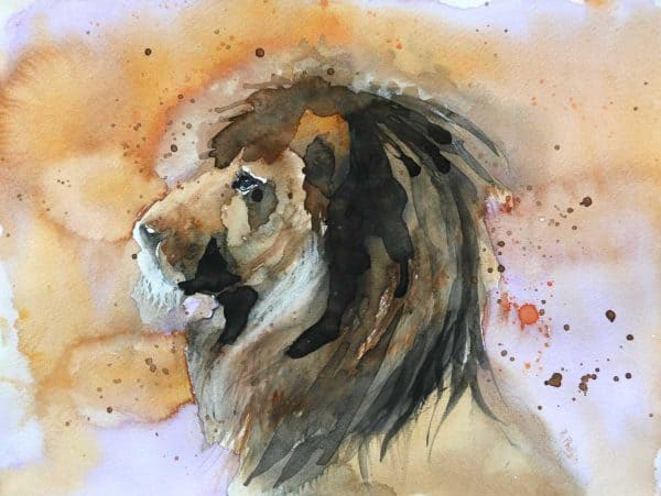 Lion Animal Painting of a Lion by artist Rine Philbin