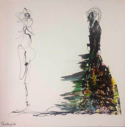 Himself and Herself(Large painting) Contemporary Abstract painting by artist Kevin Sharkey