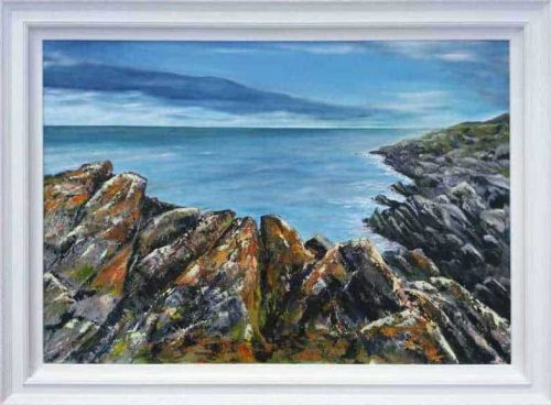 A Sea View from The Rocks A large seascape painting