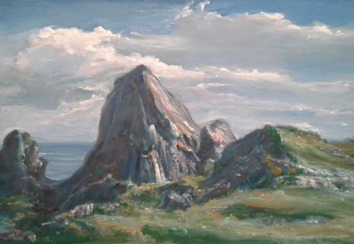Shore Peaks Seascape Painting by Brian Scampton