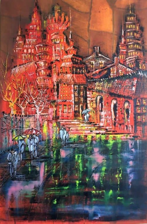 Sunset Abstract Street Scene painting by artist Jelena Straiziene