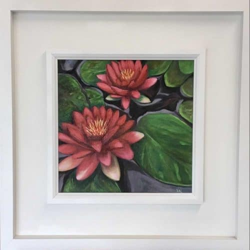 Water Lilies Floral painting by Irish artist Valerie Dennigan