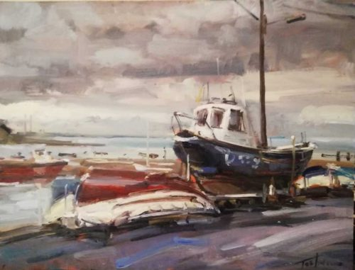 Dalkey Co.Dublin Fishing Boats at Dalkey by artist Norman Teeling